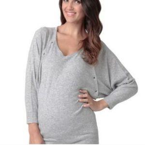 Ripe Maternity Angora Dolman Grey Nursing Sweater M
